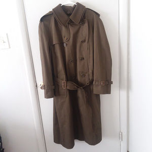 Men's Burberry Olive Green Belted Trench Coat